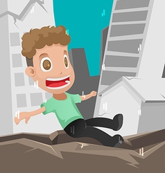 Man scared earthquake disaster danger vector
