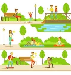 People spending time in park in summer set of vector