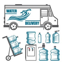 Set of images for water delivery vector image