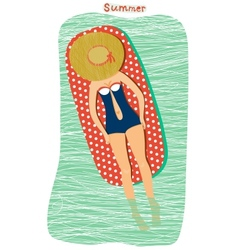 Girl sunbathing at the beach vector