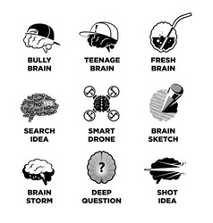 Human brain signs with ideas colorless vector