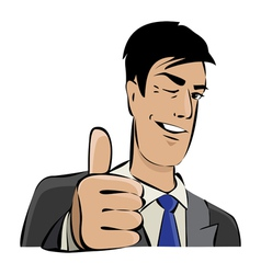 Young businessman with thumb up vector image