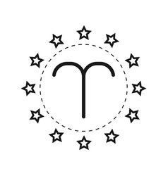 Aries sign of the zodiac flat symbol horoscope vector