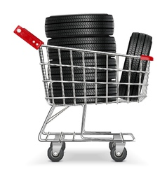 Trolley with tires vector