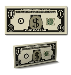 One dollar paper bill banknote vector