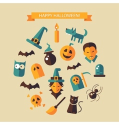 Flat design halloween composition vector