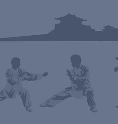 Fighting art of kung fu vector