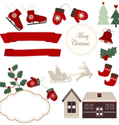 Christmas icons and vector