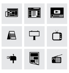 Black advertisement icon set vector