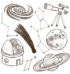 Set of astronomical objects vector