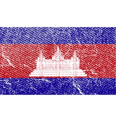 Flag of cambodia with old texture vector