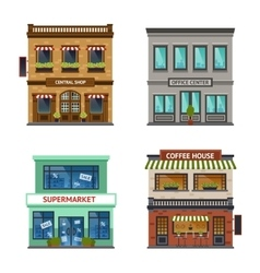 Vintage shop store office set vector