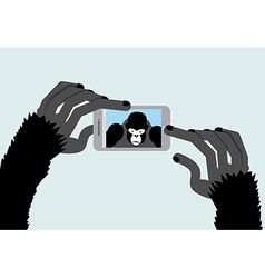 Selfie monkey black gorilla photographs animal and vector