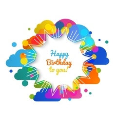 Birthday greeting card in bright warm vector