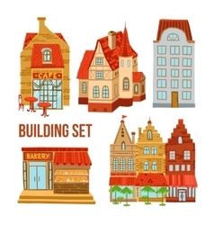 Old town buildings set vector