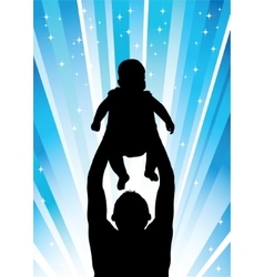 Silhouette of the father of holding child blue vector