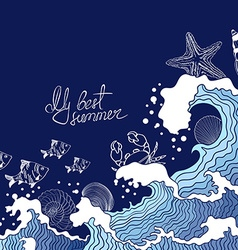Summer of ocean waves and marine life vector
