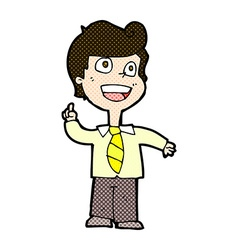 Comic cartoon school boy raising hand vector