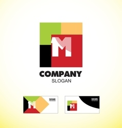 Alphabet letter m vintage strong colors logo icon vector