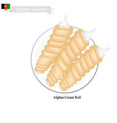 Afghan Cream Roll Popular Dessert in Afghanistan vector image vector image