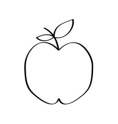 apple fresh fruit drawing icon vector image