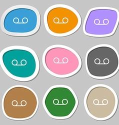 audio cassette icon symbols Multicolored paper vector image