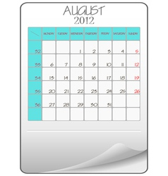 august 2012 vector image vector image