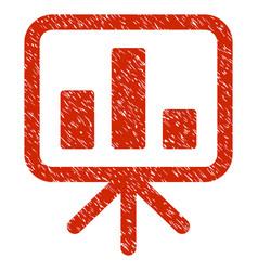 Bar chart display grunge icon vector
