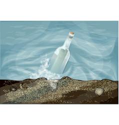 Bottle in water vector