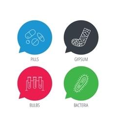 Broken foot bacteria and medical pills icons vector image vector image