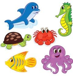 cartoon sea animals6 color vector image