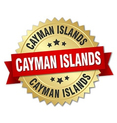 Cayman islands round golden badge with red ribbon vector