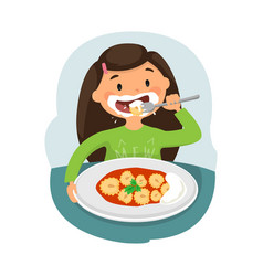 child eating healthy food vector image