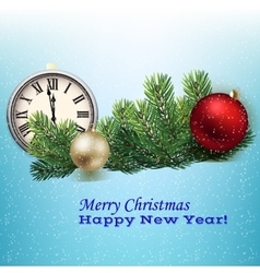 clock and Christmas decorations vector image