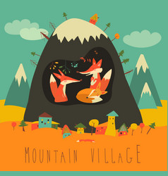 Cute village by the mountain with foxes inside the vector