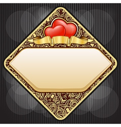 diamond gold frame with heart and ribbon for valen vector image vector image