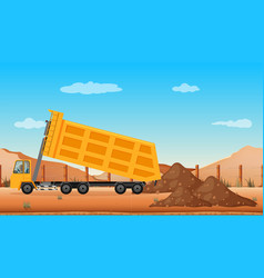 Dumping truck at the construction site vector