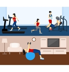 Fitness workout banner vector
