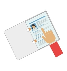 Hand pointing a curriculum vitae vector