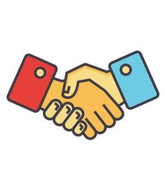 handshake partnership concept line icon vector image vector image
