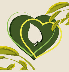 Heart with leaf inside and braches with leaves vector