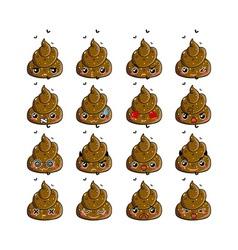 Kawaii poop emoticons set vector image vector image