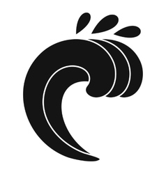 Large curling wave icon simple style vector