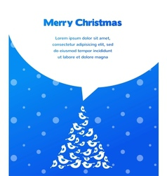 merry christmas card with bird tree vector image vector image