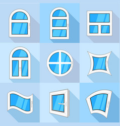 plastic windows icons set flat style vector image