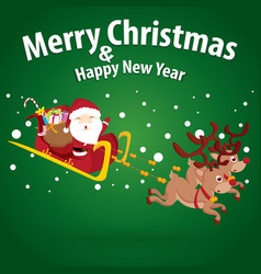 Santa claus and snow theme merry christmas and vector