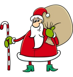 Santa with sack and cane vector
