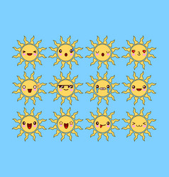 set of different smiling yellow sun isolated on vector image vector image