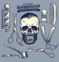 Set of the barbershop and skull element vector