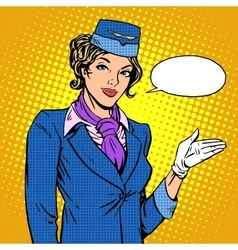 Stewardess airline invites you to board vector